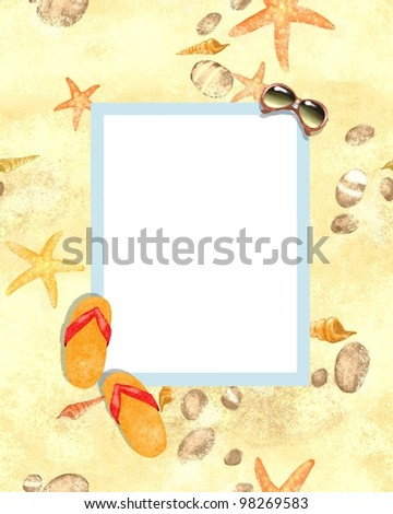 Summer beach background, beach party invitation, shells, stones, starfish, sunglasses and flip-flops on a sand,  border frame on seamless background, space for text - stock photo