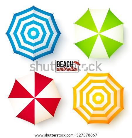 Summer beach colorful umbrellas top view set - stock photo