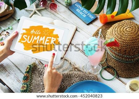 Summer Beach Digital Tablet Plan Concept - stock photo