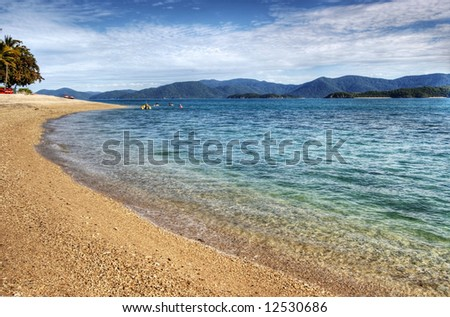 Summer Beach Scene - Daydream Island - stock photo