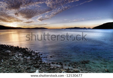 Summer Beach Scene - Long Island - stock photo