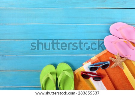 Summer beach vacation background, sunglasses, flip flops, copy space - stock photo