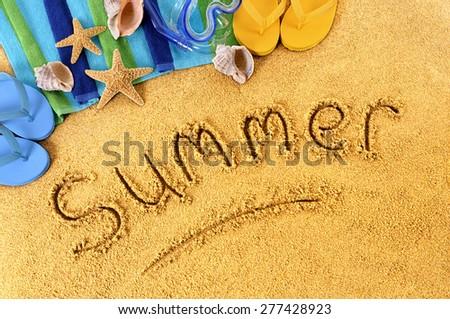 Summer beach writing vacation concept - stock photo
