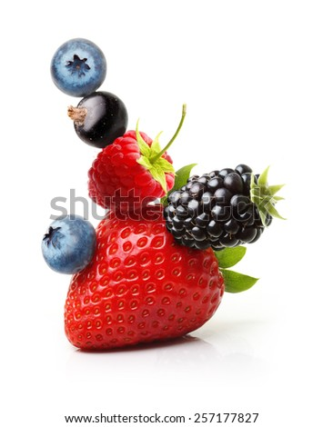 Summer berry fruits. Berries Isolated on White Background - stock photo