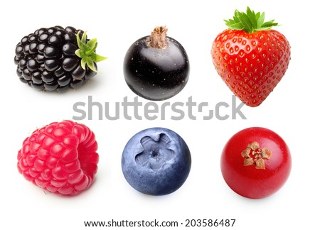 Summer berry fruits. Raspberry, Strawberry, Blueberry, Blackberry Isolated on White Background - stock photo