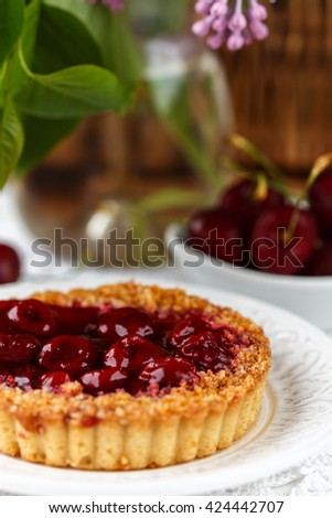 Summer berry pie. Tart, pie, cake shortbread with cherries. Selective focus - stock photo