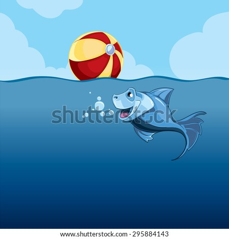 summer blue background with fish and inflatable ball - stock photo