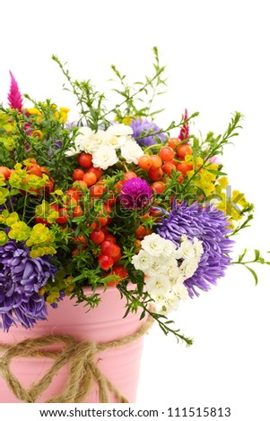 Summer bouquet of flowers and berries on a white background. - stock photo