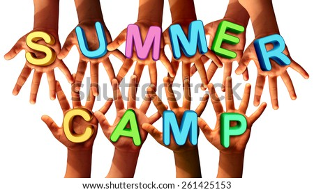 Summer camp kids as diverse school children with open hands holding letters as a symbol of recreation and fun education with a group working as a team for learning success. - stock photo