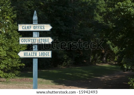 Summer camp sign post background - stock photo
