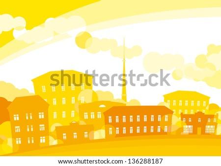 Summer city. Background of  yellow city. Horizontal format. - stock photo