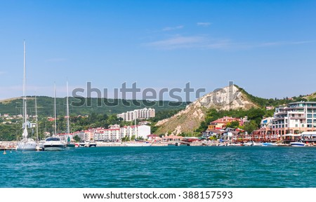 Summer cityscape of Balchik resort town. Black Sea coast, Varna region, Bulgaria - stock photo