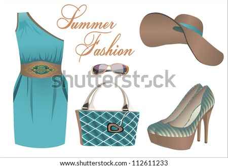 summer clothes collection - stock photo