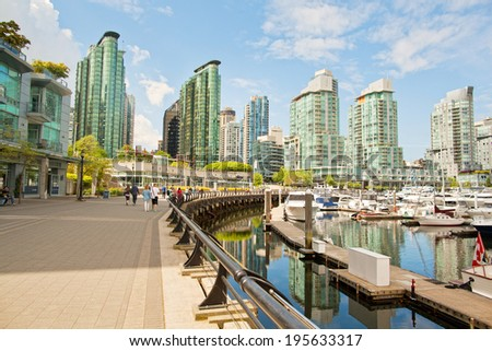 Summer coal harbor in Vancouver, Canada - stock photo