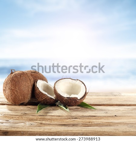 summer coconuts  - stock photo