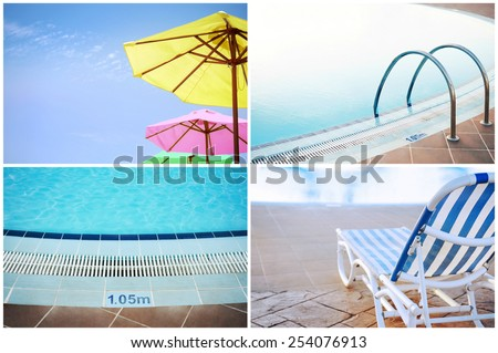 Summer collage of swimming pool and holiday resorts. - stock photo