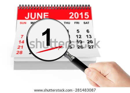 Summer Concept. 1 june 2015 calendar with magnifier on a white background - stock photo