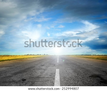summer day and road as travel background - stock photo