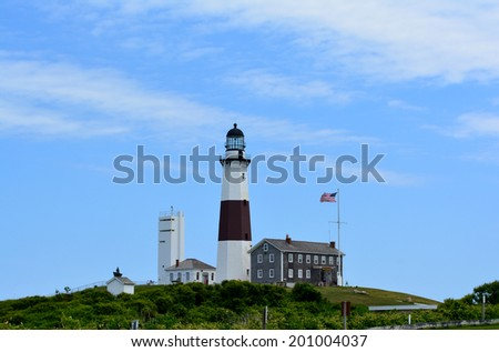 Summer day at the lighthouse at Montauk Point on Long Island. - stock photo