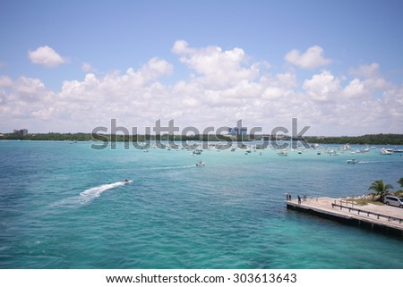 summer day miami south beach gulf private yacht dock florida usa - stock photo