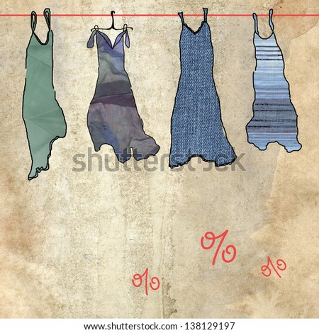 Summer dresses on sale. Old paper background - stock photo