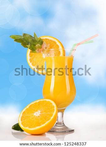 Summer drink with orange slice - stock photo