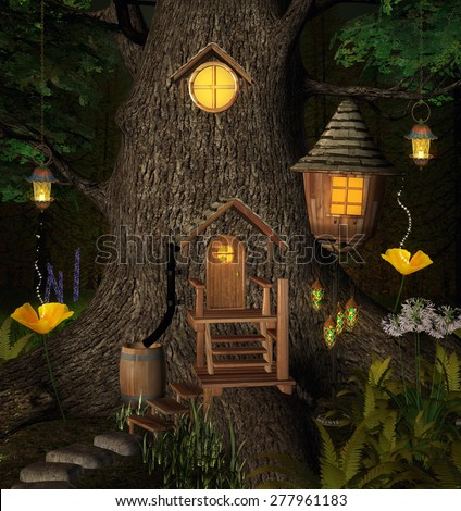 Summer elf tree house - stock photo