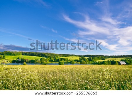 Summer evening. Muranovo hills, Moscow region, Russia - stock photo