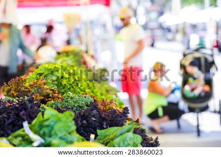 Summer farmers market on Main Street in Parker, Colorado. - stock photo