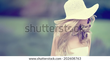 Summer fashion girl on a walk - stock photo