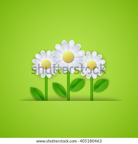 Summer floral background with daisy flowers. illustration Raster version - stock photo