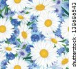 Summer floral seamless pattern. Flower background with chamomile and cornflower. - stock photo