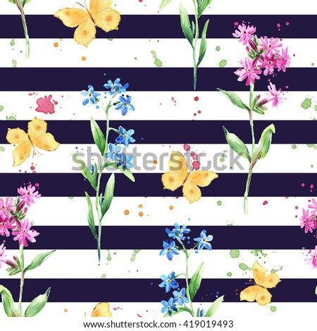 Summer flowers and butterflies on black striped background. Trendy floral pattern. Watercolor - stock photo
