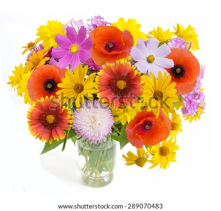 Summer flowers bunch in vase isolated on white background. Aster,poppy and cosmos flowers bouquet - stock photo