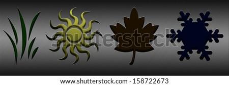 Summer. Four seasons concept with illuminated symbols - stock photo