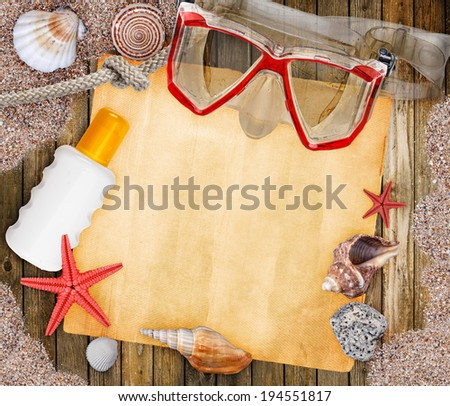 Summer frame with copyspace blank paper mask for diving - stock photo