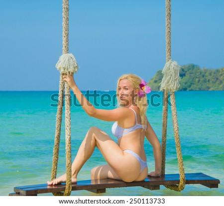 Summer Fun In Bikini   - stock photo