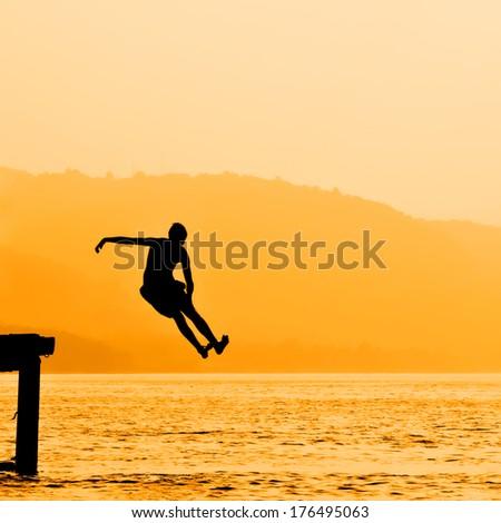 Summer fun on the lake. - stock photo