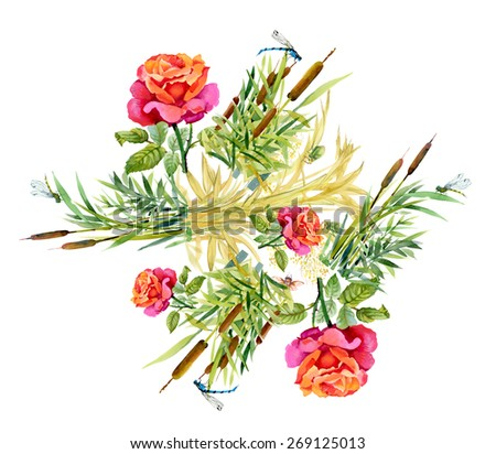 Summer Garden floral pattern on white background with dragonflies - stock photo