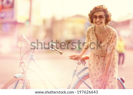 Summer girl happiness traveling - stock photo