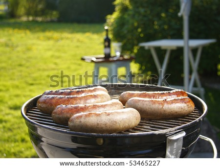 Summer grill sausage - stock photo
