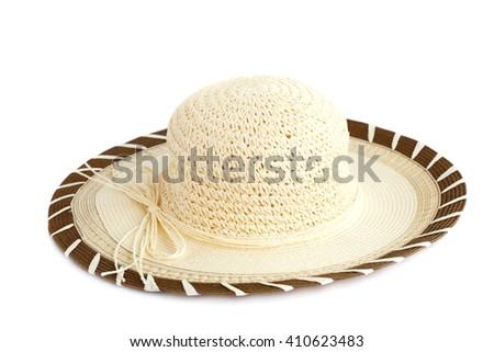 Summer hat isolated on white background. - stock photo