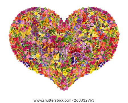 Summer heart concept is made from bright  summer flowers. Abstract handmade isolated  collage - stock photo