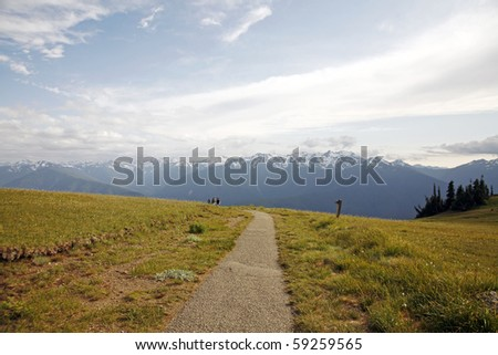 summer hiking in alpine - stock photo