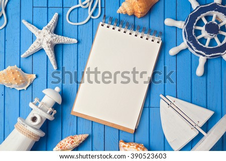Summer holiday notebook mock up template. View from above. Flat lay - stock photo