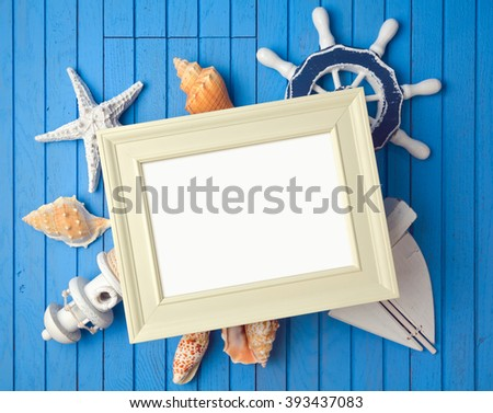 Summer holiday poster frame mock up template with decorations. View from above - stock photo
