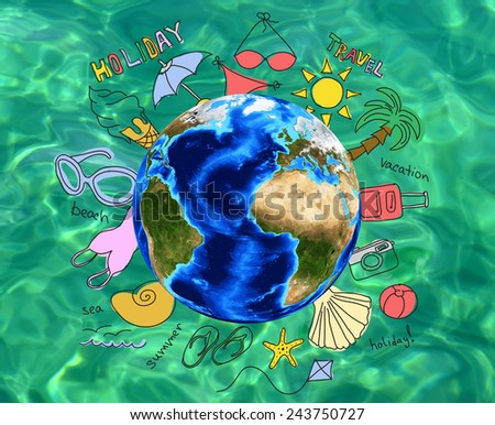 Summer holiday vacation concept, assorted items and words around Globe, on green sea water background. Element of this image furnished by NASA - stock photo