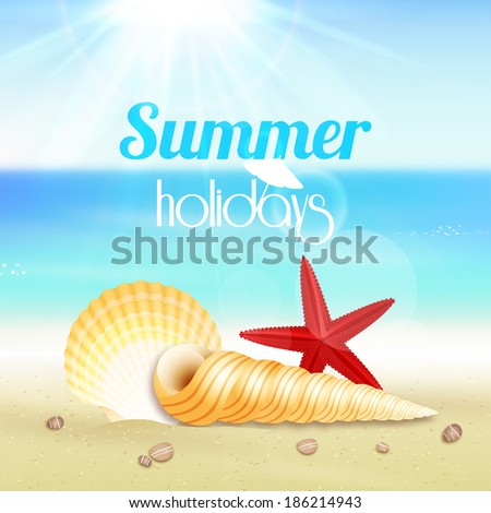 Summer holiday vacation travel background poster with seascape starfish and seashells  illustration - stock photo
