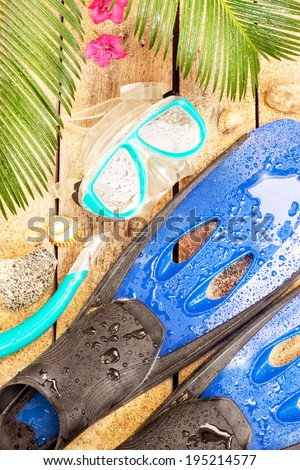 Summer holiday (vacation) tropical beach - palm tree leaves, exotic flowers, wet fins, goggles and snorkel  on sand. Diving equipment from above. - stock photo