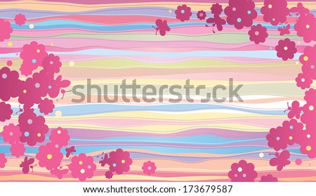 Summer horizontal composition. A silhouette of butterflies and flowers on a striped light-colored background. - stock photo